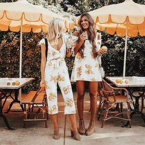 For Love & Lemons Limonada Jumpsuit White XS